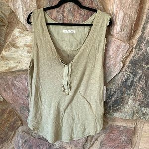 Free people Olive green linen tank top